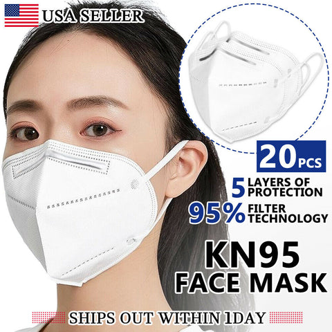 BOGO Free!!   20 PCS - KN95 Face Mask ~ NonMedical Protective Respirator Breathable Cover & Nose - (20)