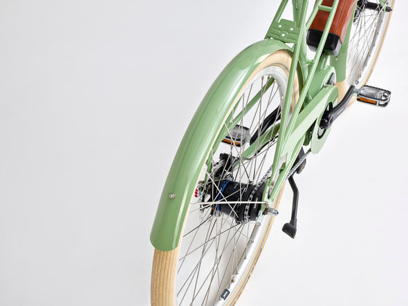 Vintage retro green aer looking electric bike pashley lugged steel classic Dutch bike electric bike Dublin electric bike Ireland electric bike