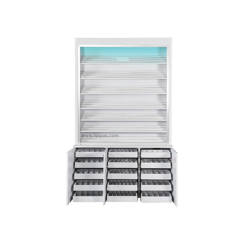 V-Polish & Powder Rack w/Gel Color & Powder Cabinet (w/LED Light)