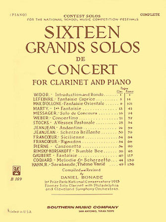16 Grand Solos de Concert for Clarinet and Piano