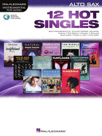 Hal Leonard Instrumental Play-Along -12 Hot Singles for Alto Sax