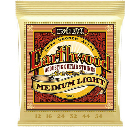 Ernie Ball Earthwood Medium-Light 80/20 Bronze Acoustic Guitar Strings, 12-54