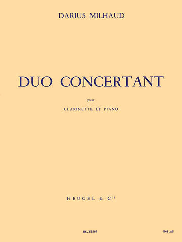 Duo Concertant for Clarinet and Piano - Milhaud