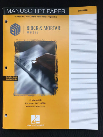 Brick & Mortar Music Manuscript Paper- 12 Staff Fits 3-Ring Binder