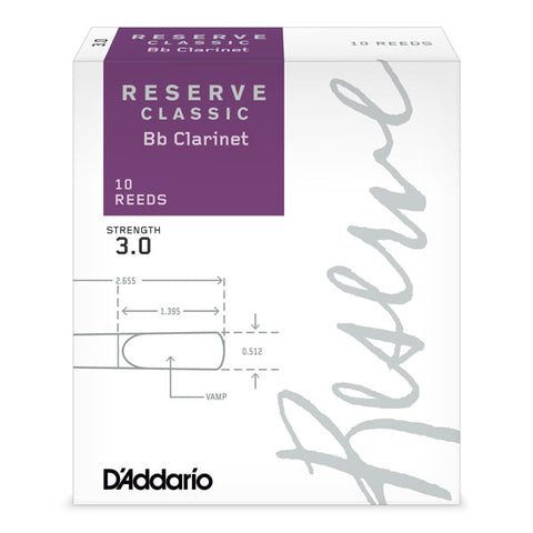 D'Addario Reserve Classic Bb Clarinet Reeds, 10-Pack