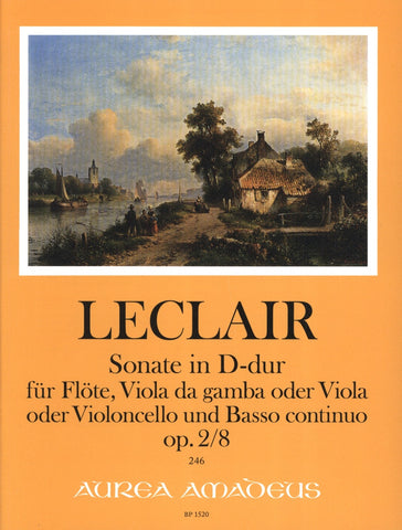 Sonata in D Major Op 2/8, for Mixed Woodwind/String Piano Trio - LeClair