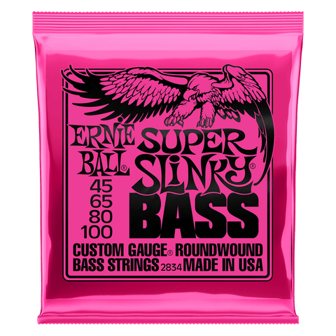 Ernie Ball Super Slinky Nickel Wound Electric Bass Strings, 45-100
