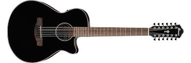 Ibanez AEG5012BK AEG Series Black High Gloss 12-String Acoustic Electric Guitar