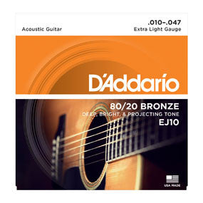 D'Addario 80/20 Bronze Extra Light Acoustic Guitar Strings, 10-47