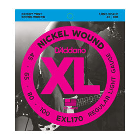 D'Addario Nickel Wound Light Bass Strings, 45-100 Long Scale
