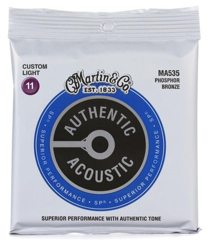 Martin Authentic Acoustic SP Phosphor Bronze Custom Light Acoustic Guitar Strings, 11-52
