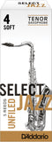 D'Addario Select Jazz Unfiled Tenor Saxophone Reeds, 5-Pack