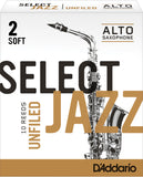 D'Addario Select Jazz Unfiled Alto Saxophone Reeds, 10-Pack