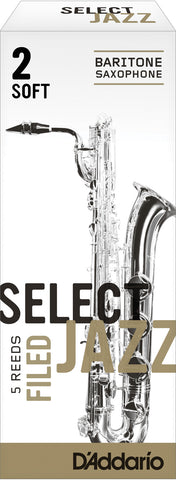 D'Addario Select Jazz Filed Baritone Saxophone Reeds, 5-Pack
