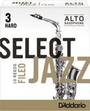 D'Addario Select Jazz Filed Alto Saxophone Reeds, 10-Pack