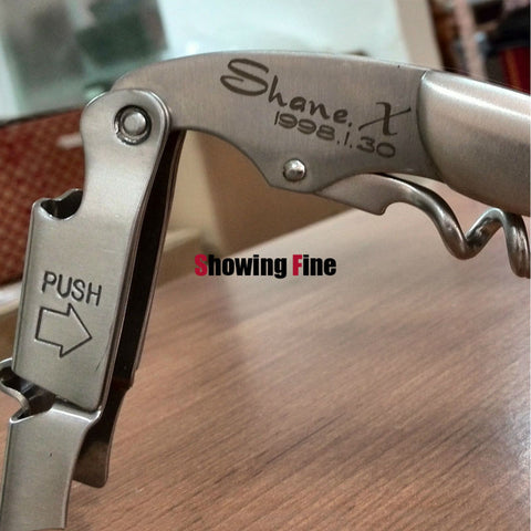 3 Styles Sommelier 2-Steps Wine Corkscrew Opener which to be Lasered Client's Name S.S. 2 Hinges Bottle Openors Personality Gift