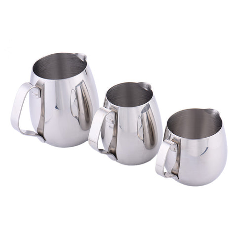 Silver Stainless Steel Milk Jug Coffee Frothing Pitcher Espresso Moka Cappuccino Maker Latte Art DIY Drinks 300ml/350ml/600ml