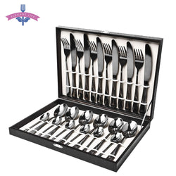 Dinnerware Set Black Stainless Steel Flatware 24 piece