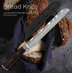8 inch Kitchen Bread Knife Serrated Design Stainless Steel Blade