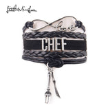 Infinity Love CHEF bracelet Knife and fork charm  leather wrap