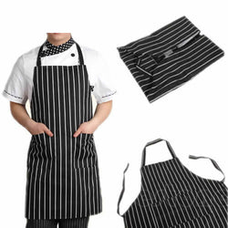 Adjustable Black Stripe Bib Apron with 2 Pockets Chef Waiter Kitchen Cook Tool