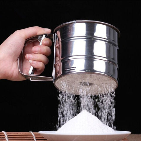 Keythemelife Mesh Flour Sifter Mechanical Baking Icing Sugar Shaker Sieve Tool Stainless Steel Cup Shape Kitchen Tools B1