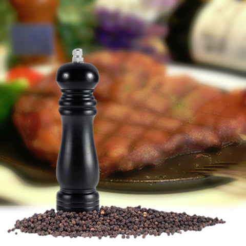 Black Wooden Wood Pepper Salt Mill Shaker