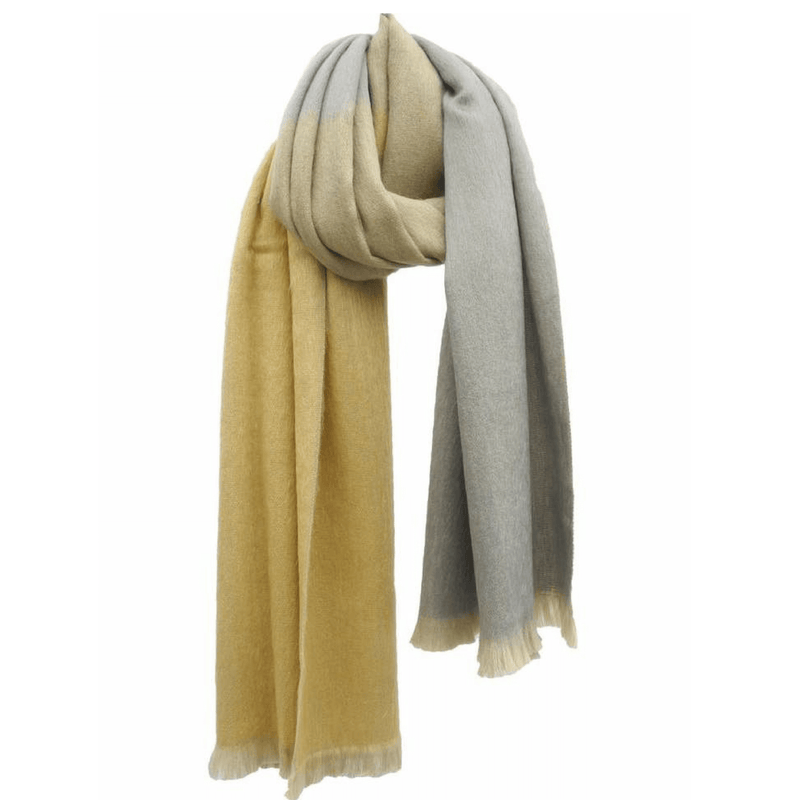 Mme Bovary Sjaal Bufandy yellow grey ombre shade Scarf alpaca wol wool
