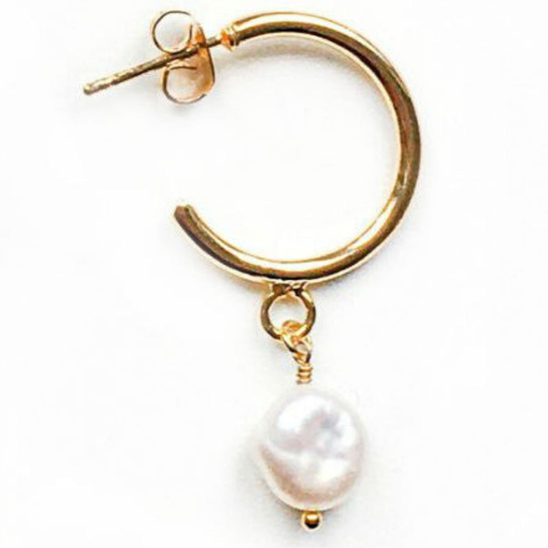 One Stud hoop and Pearls