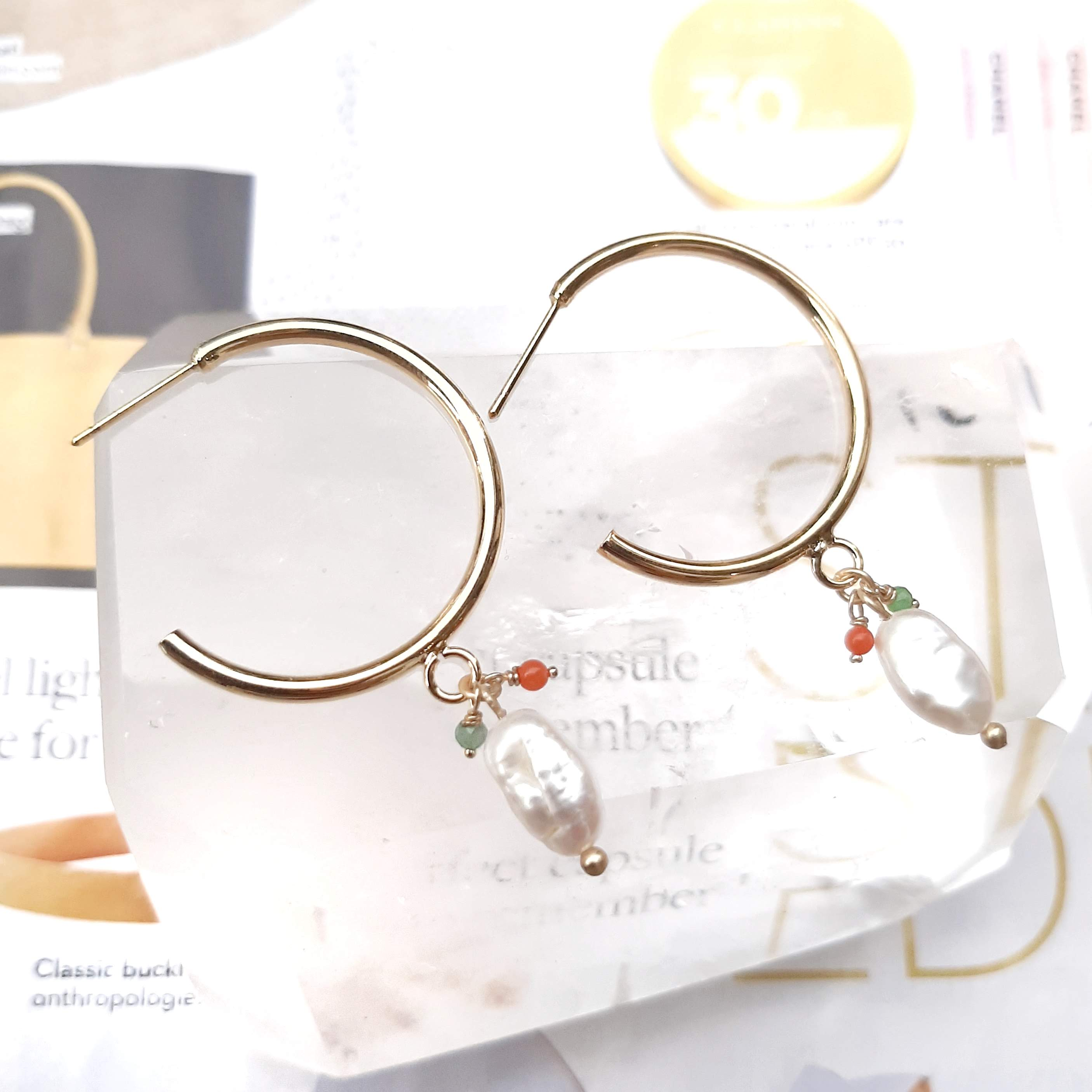 #StayGoldTogether Pearl Hoops