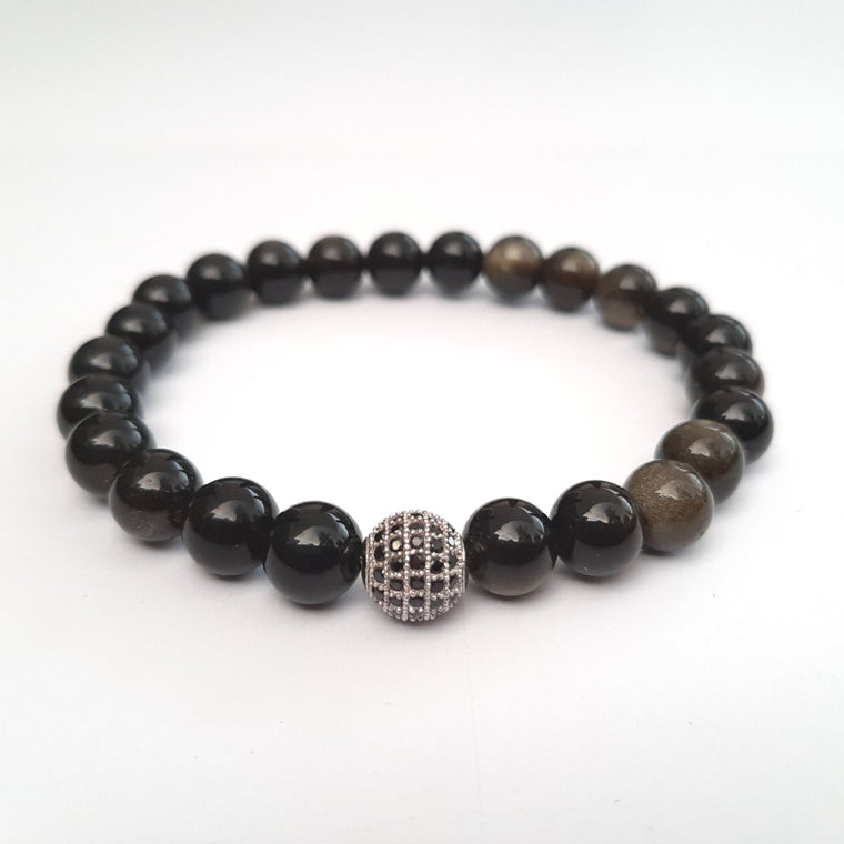 Natural Hematite Bracelet with Micro Pavé CZ beads