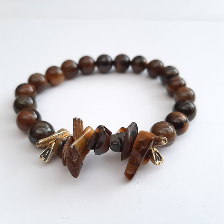 Natural Tiger Eye beads with Tiger Eye Chips