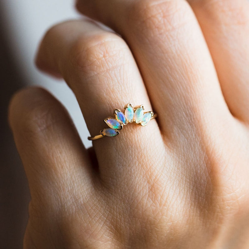 Stay Gold Mme Bovary Cosmic half moon opal ring