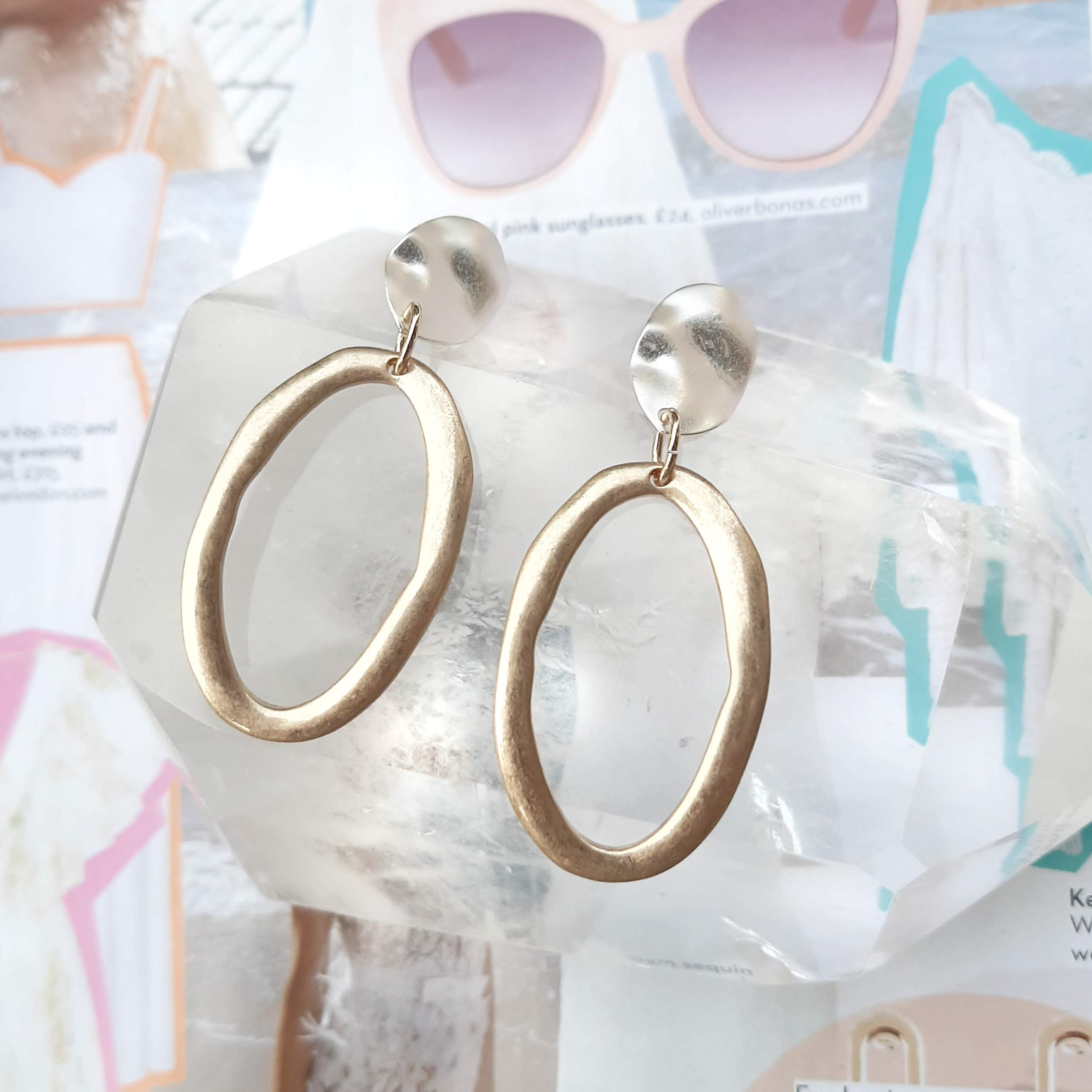 silver gold toned earrings
