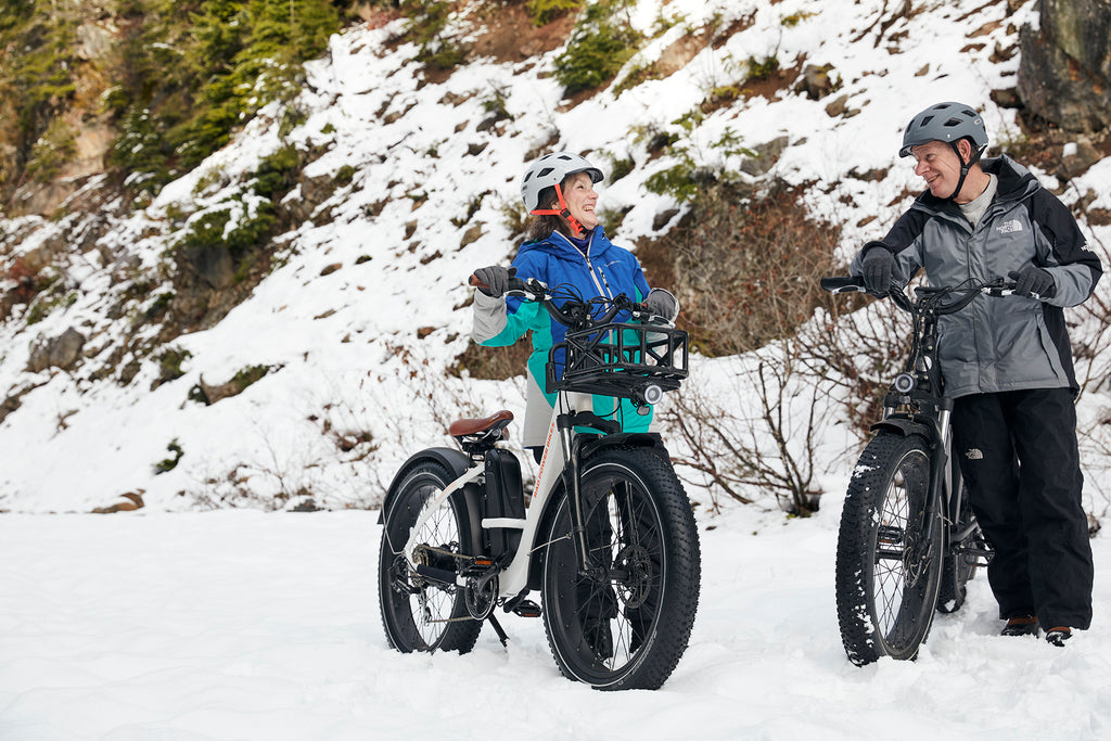 Older couple riding RadRhino Electric Bikes