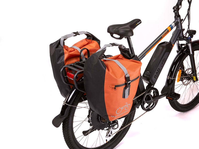 orange bag on bike