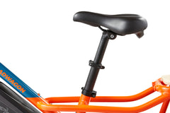 Bicycle seat on orange bike frame