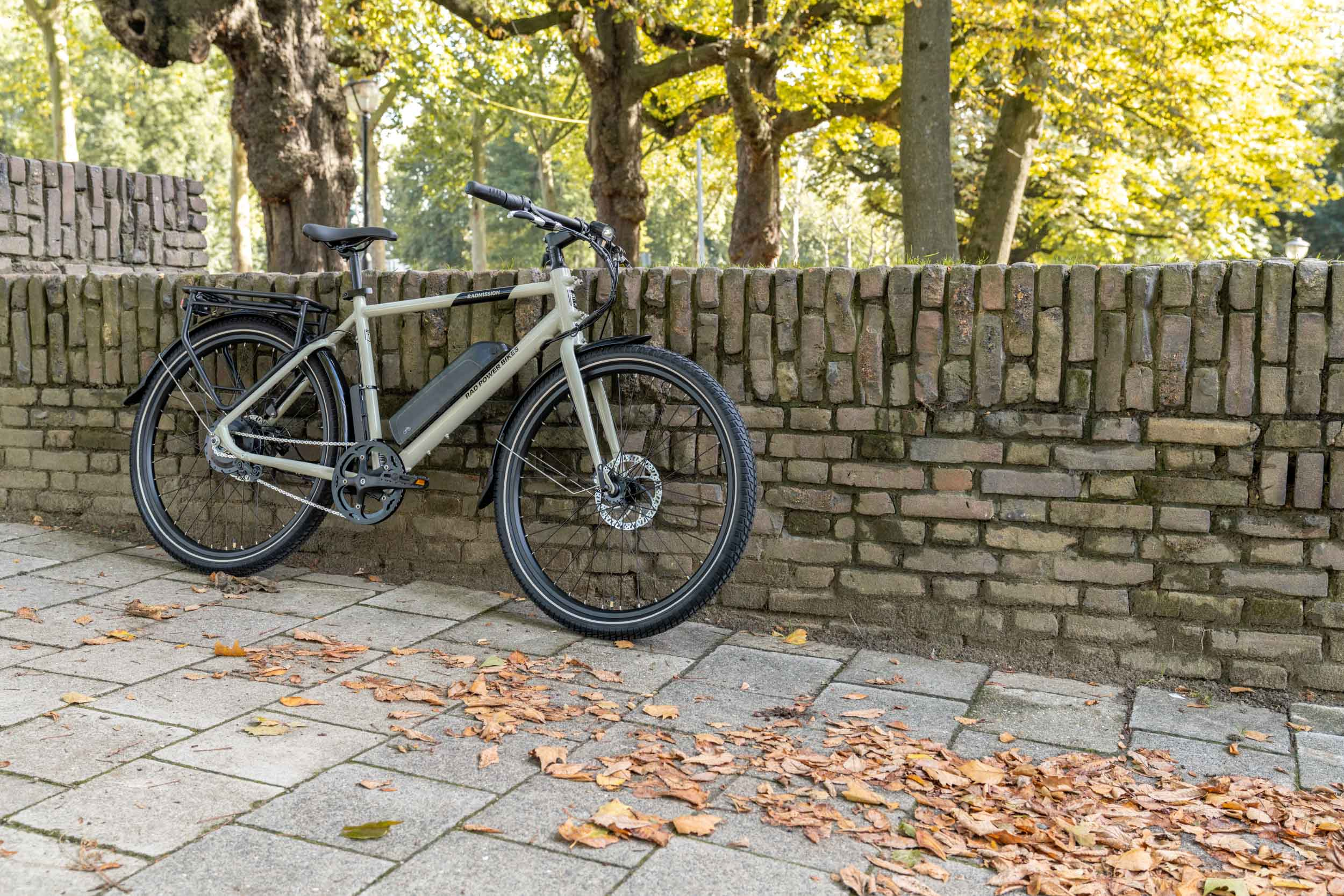 Gray bike standing at a wall with grass