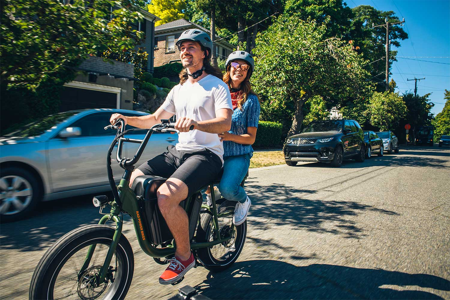 Couple riding RadRunner e-bike