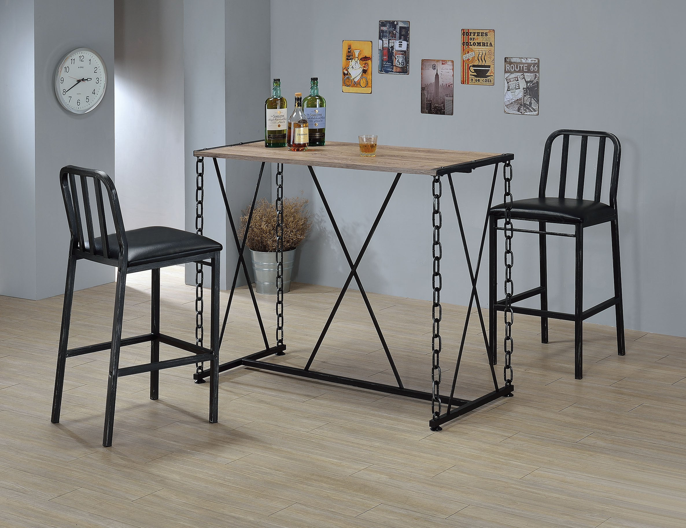 Shop For Bar Furniture At Homegazers ACME Jarvis Table In Mirror Acme Jodie Chair Set 2 Kite White