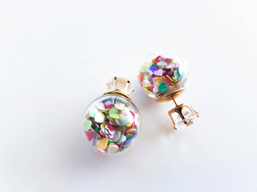 Rainbow Hearts Earring