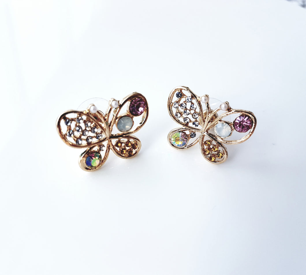 Gemstone Butterfly Earring