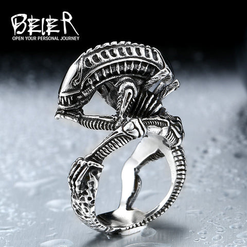 Stainless Steel Xenomorph Alien Ring
