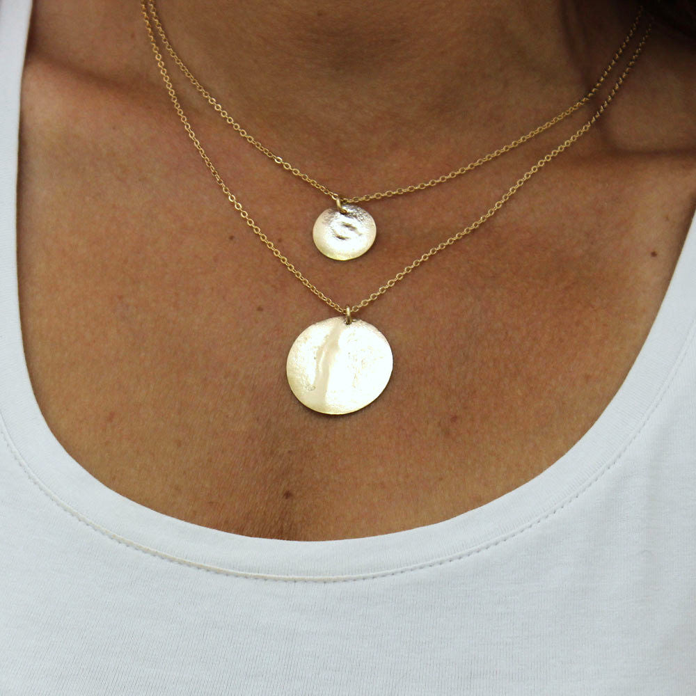 89e2ba8fdfe3f2 Two Disc Necklace, Hammered Gold Disc Necklace, Bridesmaides Gift , Wedding  Jewelry, Double strand necklace, Layering Necklace.