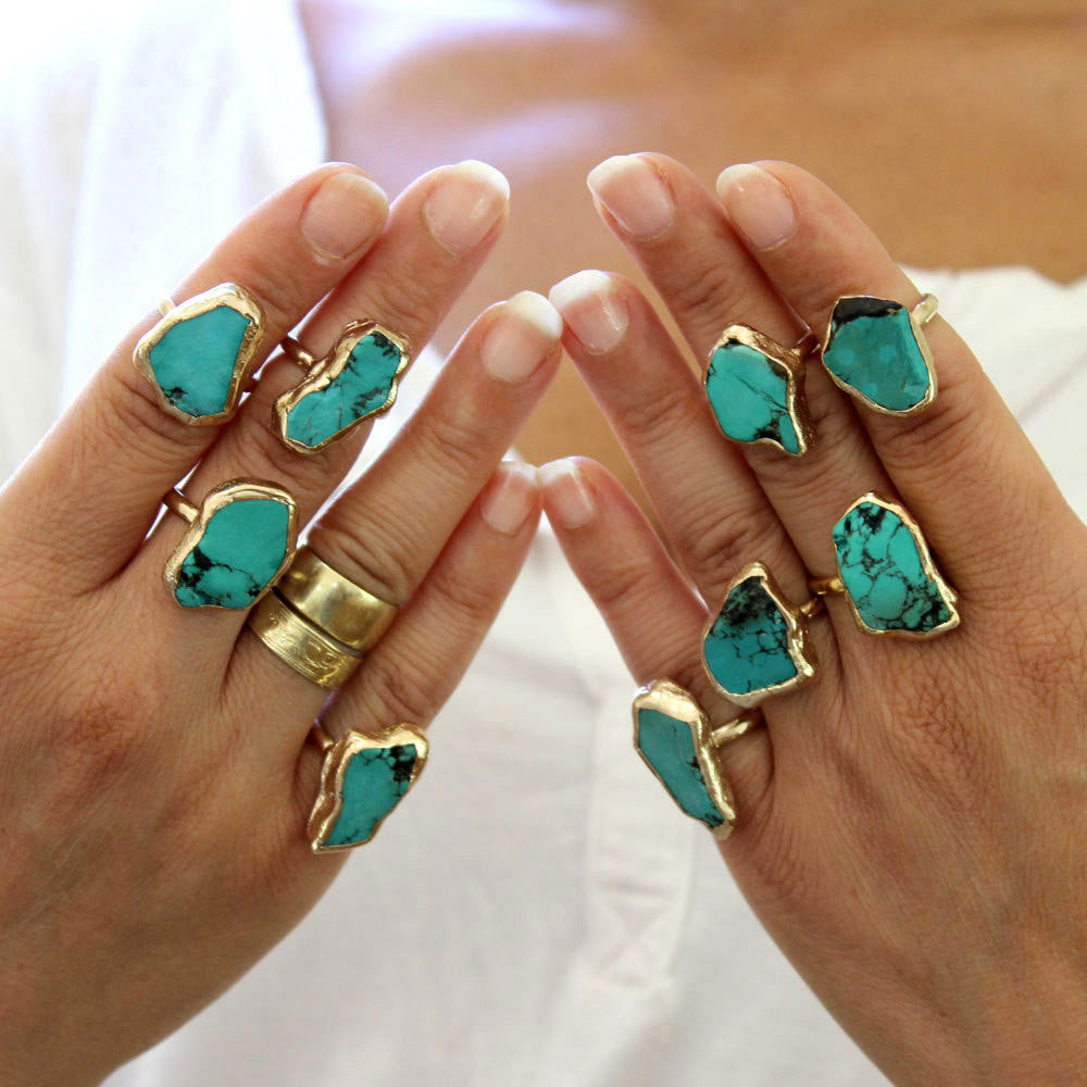 Raw Turquoise Ring Turquoise Ring Boho Turquoise Ring Gold