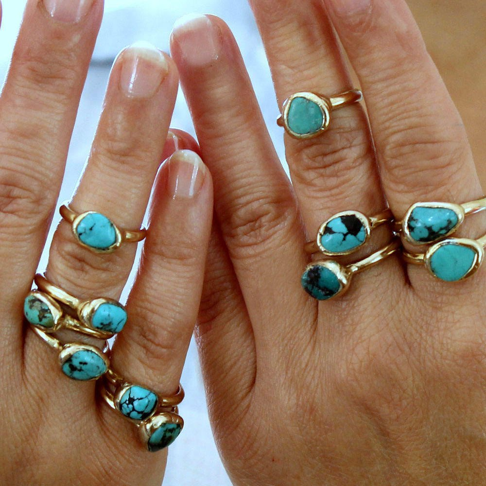 Mineral ring Turquoise nugget ring Organic stone jewelry Nevada turquoise jewelry Turquoise stone ring Raw turquoise stacking ring