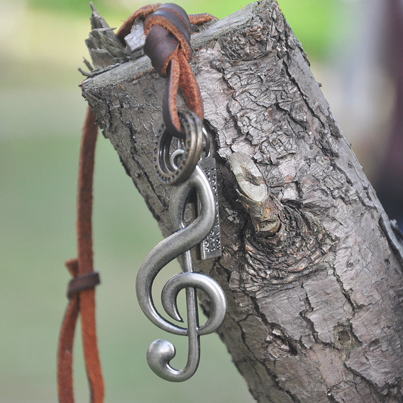 Adjustable Leather Cord Music Necklace