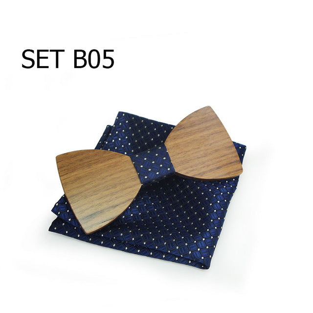 Men's Wooden Bow Tie and Handkerchief-20 Styles!