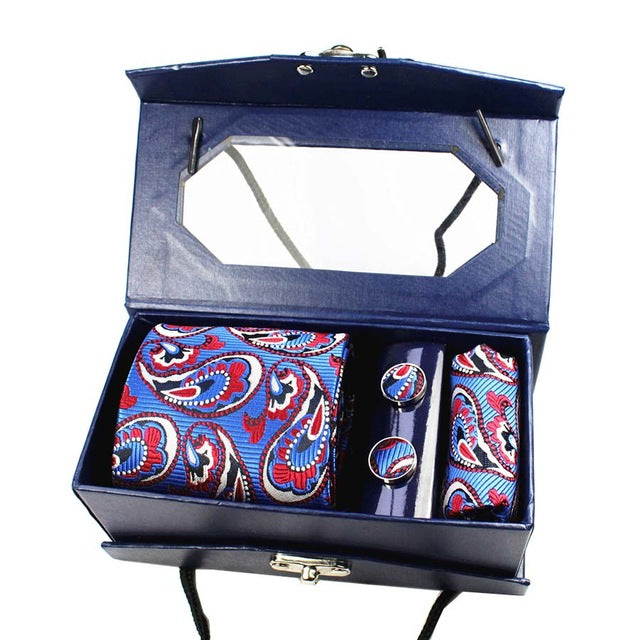 Silk Tie Set With Gift Box Handkerchief, Cuff Links, Necktie - DEALYEA.COM