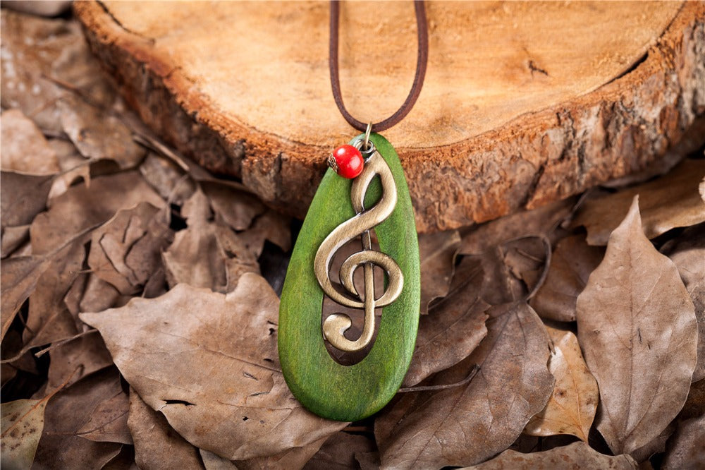 Music Note Necklace Green or Brown